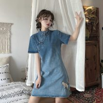 Dress Summer 2021 wathet S M L XL Short skirt singleton  Short sleeve commute stand collar middle-waisted Animal design Three buttons A-line skirt routine Others 18-24 years old Type A Uniday Korean version Embroidery 71% (inclusive) - 80% (inclusive) Denim polyester fiber Polyester 75% cotton 25%