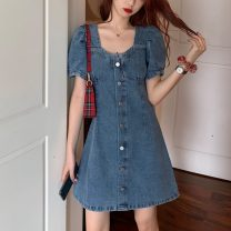 Dress Summer 2021 wathet S M L Short skirt singleton  Short sleeve commute square neck High waist Solid color Socket One pace skirt puff sleeve Others 18-24 years old Type A Uniday Korean version Button 51% (inclusive) - 70% (inclusive) polyester fiber Polyester 69% other 31%