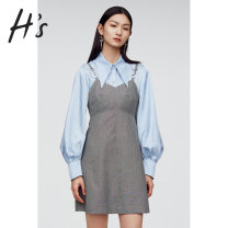 Dress Spring 2021 Medium grey S/155 M/160 L/165 XL/170 Short skirt singleton  Sleeveless commute V-neck High waist stripe other A-line skirt other camisole 18-24 years old Type A H'S Retro 51% (inclusive) - 70% (inclusive) other polyester fiber Polyester 65.8% viscose 34.2%