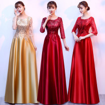 Dress / evening wear Company annual meeting performance longuette middle-waisted Winter of 2019 Fall to the ground U-neck Nail bead Polyester 100% Pure e-commerce (online only)