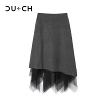 skirt Winter 2020 Average size Black grey Mid length dress commute High waist Irregular Solid color 25-29 years old More than 95% CU+CH Viscose Splicing Viscose (viscose) 100% Same model in shopping mall (sold online and offline)