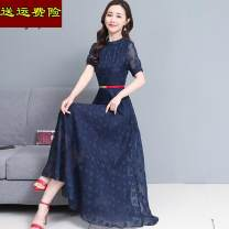 Dress Spring 2021 Grey, pink, blue M,L,XL,2XL,3XL longuette singleton  Short sleeve commute Crew neck middle-waisted Solid color Socket A-line skirt routine Others 40-49 years old Type A Other Korean version zipper 71% (inclusive) - 80% (inclusive) Lace polyester fiber