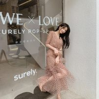 Dress Spring 2021 Light brown, pink Xs, s, m, l, no reason for return and exchange in seven days longuette Two piece set Short sleeve street V-neck High waist Dot Socket A-line skirt routine Others 25-29 years old Type A Xueyuan style ss21-912+ss21-037 51% (inclusive) - 70% (inclusive) other