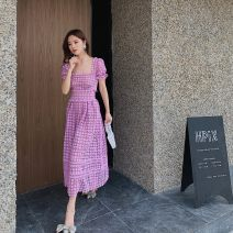 Dress Spring 2021 lilac colour Xs, s, m, l, no reason for return and exchange in seven days longuette singleton  Short sleeve street square neck High waist Solid color zipper Big swing puff sleeve Others 25-29 years old Type A Xueyuan style ss20-142 51% (inclusive) - 70% (inclusive) Lace
