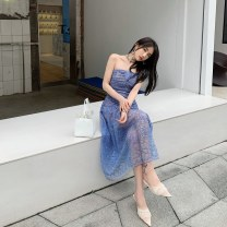 Dress Spring 2021 blue Xs, s, m, l, no reason for return and exchange in seven days longuette singleton  Sleeveless street One word collar High waist Solid color zipper Big swing other Breast wrapping 25-29 years old Type A Xueyuan style ss21-038s 51% (inclusive) - 70% (inclusive) other