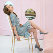 Dress Spring 2021 blue Xs, s, m, l, no reason for return and exchange in seven days Short skirt singleton  Short sleeve street Crew neck High waist Solid color zipper A-line skirt puff sleeve Others 25-29 years old Type H Xueyuan style 51% (inclusive) - 70% (inclusive) Lace cotton Europe and America
