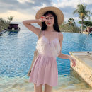 one piece  AI XL,L,M Pink, yellow One piece flat corner swimsuit Steel strap breast pad other female Sleeveless Casual swimsuit Solid color, others backless