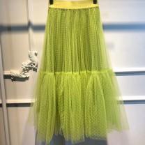 skirt Spring 2020 S,M,L green longuette fresh Natural waist Dot Type A Splicing