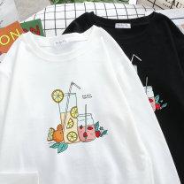 Women's large Autumn 2020 C19-783-white c19-783-black S (recommendation 100-120) m (recommendation 120-140) l (recommendation 140-160) XL (recommendation 160-180) 2XL (recommendation 180-210) 3XL (recommendation 210-240) 4XL (recommendation 240-260) T-shirt singleton  commute easy moderate Socket
