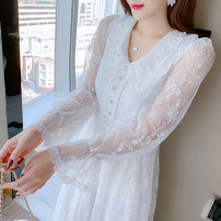 Dress Spring 2021 White apricot S M L XL 2XL longuette singleton  Long sleeves commute V-neck High waist Solid color Socket A-line skirt routine Others 25-29 years old Type A Jonana Korean version Lace More than 95% Lace other Other 100% Pure e-commerce (online only)