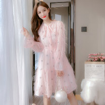 Dress Spring 2021 White pink S M L XL Middle-skirt singleton  Long sleeves commute stand collar Elastic waist Solid color Socket A-line skirt routine Others 18-24 years old Type A Korean version More than 95% Lace other Other 100% Pure e-commerce (online only)