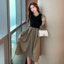 Dress Spring 2021 Apricot Brown S M L XL Middle-skirt Fake two pieces Long sleeves commute Crew neck High waist Decor Socket Princess Dress Princess sleeve Others 18-24 years old Type A Jonana Korean version More than 95% other other Other 100% Pure e-commerce (online only)