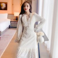Dress Spring 2021 Apricot S M L XL longuette singleton  Long sleeves commute V-neck middle-waisted Solid color Socket Ruffle Skirt routine Others 25-29 years old Type A Jonana lady Lace More than 95% other Other 100% Pure e-commerce (online only)
