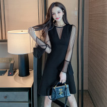 Dress Spring 2021 black S M L XL Middle-skirt singleton  Long sleeves commute Crew neck High waist Solid color Socket A-line skirt routine Others 25-29 years old Type A Jonana Korean version Gauze More than 95% brocade other Other 100% Pure e-commerce (online only)
