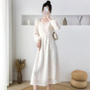Dress Spring 2021 Apricot S M L XL 2XL longuette singleton  Long sleeves commute V-neck High waist Solid color Socket A-line skirt routine 18-24 years old Type A Jonana Korean version Lace More than 95% Lace other Other 100% Pure e-commerce (online only)
