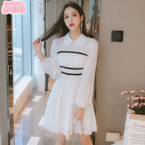 Dress Spring 2020 White short white long S M L XL Middle-skirt singleton  Long sleeves commute Polo collar High waist Solid color zipper A-line skirt routine Others 18-24 years old Type A Jonana Korean version More than 95% Chiffon other Other 100% Pure e-commerce (online only)