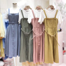 Dress Spring 2020 Pink, yellow, blue, army green S,M,L Mid length dress Fake two pieces Short sleeve commute Crew neck High waist Solid color Single breasted Pleated skirt routine straps 25-29 years old Type A Korean version Frenulum 71% (inclusive) - 80% (inclusive)