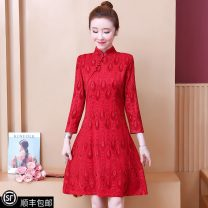 Dress Spring 2021 gules S [recommended 80-90 Jin], m [recommended 90-100 Jin], l [recommended 100-116 Jin], XL [recommended 116-130 Jin], 2XL [recommended 130-145 Jin], 3XL [recommended 145-160 Jin], 4XL [recommended 160-180 Jin], 5XL [recommended 180-200 Jin] longuette singleton  Long sleeves Socket