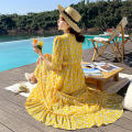 Dress Summer 2021 Picture color picture color 2 S M L XL XXL longuette singleton  Long sleeves commute V-neck High waist Decor Socket A-line skirt routine Others 25-29 years old Type A Sonny Korean version printing S2021-9267 More than 95% Chiffon polyester fiber Polyester 100%