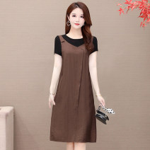 Women's large Korean version routine SUS.VIV.CIC/ Xuan weiqi Other polyester 95% 5% Pure e-commerce (online sales only) straps Summer 2021 commute Fake two pieces Dress 8601. Short sleeve moderate easy 35-39 years old Crew neck Solid color Medium and long term Condom polyester Stereoscopic cutting
