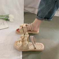Sandals 35 36 37 38 39 40 Green Black Beige cloth Love road Barefoot Flat bottom Low heel (1-3cm) Summer 2021 Trochanter Mori Solid color Youth (18-40 years old) rubber daily Front and rear trip strap Bow and ribbon combo Roman style Low Gang Hollow 78978979JOJO Fashion sandals