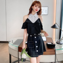 Dress Summer 2021 Picture color S M L XL XXL Short skirt Two piece set Short sleeve commute Half open collar High waist stripe Socket A-line skirt Sleeve Others 18-24 years old Type H Sweet girl Korean version Stitching buttons HCFS5023# More than 95% brocade polyester fiber Other polyester 95% 5%