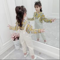 suit Other / other The recommended height is 100cm for 110, 110cm for 120, 120cm for 130, 130cm for 140, 140cm for 150 and 150cm for 160 female spring and autumn leisure time 2 pieces Thin money Single breasted lattice cotton Class B