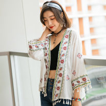Lace / Chiffon Summer 2020 white Average size Nine point sleeve Sweet Cardigan singleton  Self cultivation Regular other Solid color Bat sleeve 18-24 years old Tassels, embroidery 71% (inclusive) - 80% (inclusive) Bohemia