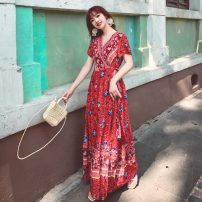 Dress Summer 2020 S,M,L,XL,2XL longuette singleton  Short sleeve Sweet V-neck Loose waist Decor Socket Big swing Flying sleeve Others 25-29 years old Type A Bandage 71% (inclusive) - 80% (inclusive) brocade cotton Bohemia