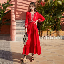 Dress Spring 2020 gules S,M,L,XL longuette singleton  Long sleeves commute V-neck Elastic waist Solid color Socket Ruffle Skirt bishop sleeve Others 25-29 years old Type A ethnic style Embroidery 81% (inclusive) - 90% (inclusive) brocade hemp