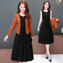 Dress Autumn of 2019 Caramel red M L XL 2XL 3XL Mid length dress Two piece set Long sleeves commute Crew neck High waist Solid color double-breasted A-line skirt routine Others 35-39 years old Type A Corrpril / Cobell Korean version Frenulum More than 95% polyester fiber Other polyester 95% 5%