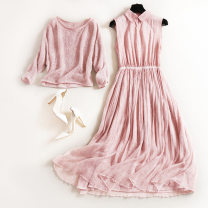 Dress Spring 2021 Pink S,XL,L,M,XXL longuette Two piece set Long sleeves Crew neck High waist Solid color Socket A-line skirt Bat sleeve Others 25-29 years old Splicing knitting acrylic fibres