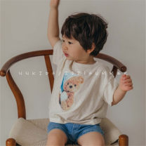 T-shirt Other / other neutral summer Short sleeve leisure time There are models in the real shooting nothing cotton Cartoon animation Class A Two, three, four, five, six, seven, eight, nine Beige * reservation (non refundable), milky coffee * reservation (non refundable)