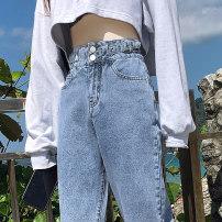Jeans Summer 2020 wathet XS S M L XL trousers High waist Haren pants Thin money Washed zipper button Multi Pocket metal decoration others light colour Pretty honey Cotton 98% other 2%