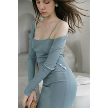Dress Autumn 2020 Light blue dress light blue cardigan XS S M L Mid length dress singleton  Sleeveless commute One word collar High waist Solid color Socket One pace skirt other camisole 30-34 years old T-type Mix Selection Simplicity thread AW20Q035 30% and below knitting nylon