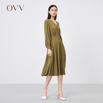 Dress Spring 2021 Zhonglv 04 XS S M L XL longuette singleton  Long sleeves V-neck middle-waisted Solid color Socket other routine 25-29 years old Type X OVV GQLCJ11003A 30% and below other nylon Same model in shopping mall (sold online and offline)