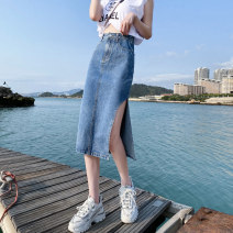 skirt Summer 2021 XS S M L XL blue Mid length dress Versatile Natural waist A-line skirt Solid color Type A 18-24 years old HTNH981 91% (inclusive) - 95% (inclusive) Denim Korean Dragonfly cotton Three dimensional decoration of pocket, buttons, zippers and stitching Cotton 95% other 5%