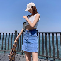 skirt Summer 2021 XS S M L XL XXL blue Short skirt commute High waist A-line skirt Solid color Type A 18-24 years old HT154780533 71% (inclusive) - 80% (inclusive) Denim Korean Dragonfly cotton pocket lady Cotton 77.7% polyester 20.9% polyurethane elastic fiber (spandex) 1.4%