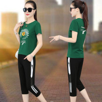 Women's large Summer 2020 M L XL 2XL 3XL 4XL trousers Two piece set commute easy thin Socket Short sleeve Big flower Korean version Crew neck routine cotton Three dimensional cutting routine OZ-AJ5173 Made in Europe 30-34 years old pocket Cotton 95% polyester 5% Pure e-commerce (online only)