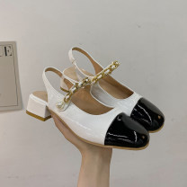 Sandals 35 36 37 38 39 Silver Black upgrade white upgrade silver upgrade black white PU Lycra Baotou Thick heel Low heel (1-3cm) Summer 2021 Elastic band Korean version Solid color Adhesive shoes Youth (18-40 years old) rubber daily Rear trip strap Thick heel platform Low Gang Lateral space PU PU