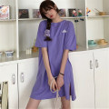 Dress Summer 2020 Purple white red M L XL Mid length dress singleton  Short sleeve commute Crew neck Loose waist letter Socket other routine Others 18-24 years old Type H Mushiti Korean version CL759* 51% (inclusive) - 70% (inclusive) polyester fiber Pure e-commerce (online only)