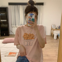T-shirt Light bean green light pink white M L XL Summer 2020 Short sleeve Crew neck easy Regular routine commute polyester fiber 51% (inclusive) - 70% (inclusive) 18-24 years old Korean version youth Hand painted plants and flowers Mushiti CL762* printing Pure e-commerce (online only)