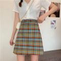 skirt Summer 2020 M L XL Graph color Short skirt commute High waist A-line skirt lattice Under 17 More than 95% other Mushiti polyester fiber Korean version Polyester 100% Pure e-commerce (online only)