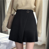 skirt Winter 2020 S M L Black grey Short skirt commute High waist Irregular Solid color 18-24 years old HMF505 * More than 95% Mushiti polyester fiber Button Korean version Polyester 100% Exclusive payment of tmall