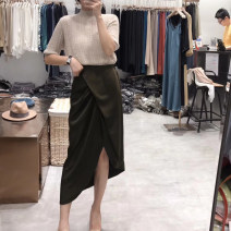 skirt Spring 2020 S,M,L Black, olive green Mid length dress commute High waist Irregular Solid color Type A 71% (inclusive) - 80% (inclusive) Silk and satin Cellulose acetate Fold, asymmetric Korean version