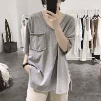 T-shirt White black grey M L XL 2XL 3XL 4XL Summer 2020 Short sleeve V-neck easy Medium length routine commute polyester fiber 51% (inclusive) - 70% (inclusive) 18-24 years old Korean version originality Solid color Doyen Asymmetric pocket