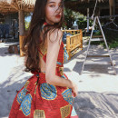 Dress Summer 2020 Red, free custom shot here, free headscarf S,M,L,XL longuette singleton  Sleeveless Sweet V-neck High waist Decor other Big swing other Others Type A Other / other Bandage, print 81% (inclusive) - 90% (inclusive) Chiffon polyester fiber Bohemia