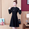 Women's large Autumn 2020 black Large L Large XL Large XXL large XXXL large XXXXL large Dress singleton  commute Self cultivation moderate Socket Long sleeves Korean version Half high collar Medium length Three dimensional cutting bishop sleeve JZG910855 The song of nobility 35-39 years old Gauze