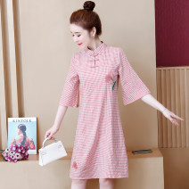 Women's large Summer 2020 Powder grid M L XL 2XL 3XL Dress singleton  commute Self cultivation Socket three quarter sleeve lattice ethnic style stand collar routine Polyester others Three dimensional cutting routine The song of nobility 35-39 years old Three dimensional decoration Middle-skirt other