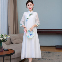 Dress Summer 2021 White, green M,L,XL singleton  three quarter sleeve commute stand collar Loose waist Solid color Socket A-line skirt routine Others Type A Retro Embroidery other